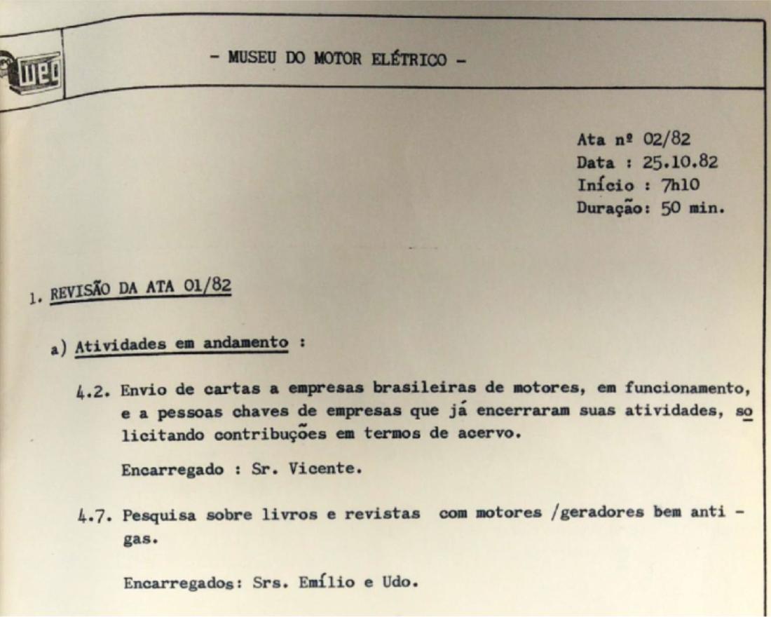 Extraído Ata nº 02/82 de 25/10/1982 Acervo Museu WEG de Ciência e Tecnologia