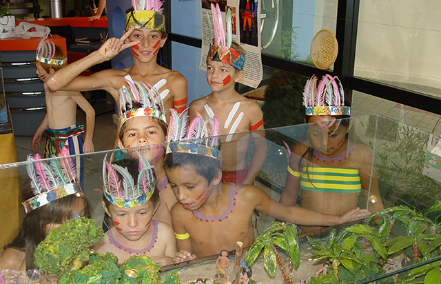Children take part in the Indian Day celebration at the Museum.